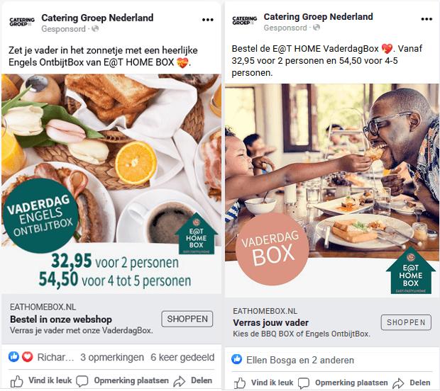 Facebook advertentie voorbeeld met twee variaties