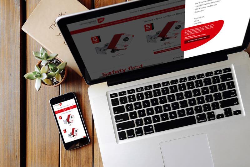 Website voor SENSE-WARE met commerciële insteek