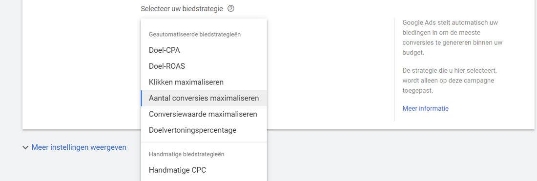 Overzicht van de biedstrategieen in Google Ads